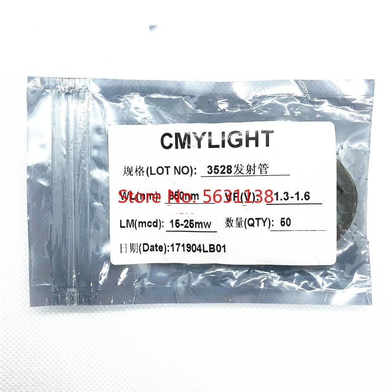 50 sztuk 3528 850NM (28-30mW) /940NM (18-20mW) diody led smd IR 20mA 1.3-1.5v 3.5*2.8*1.88mm dioda LED emitująca podczerwień cree czip led cob