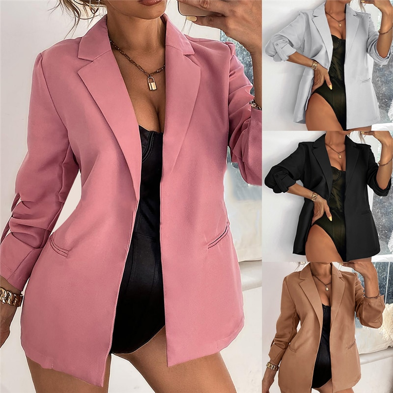 AliExpress - New Women Autumn Blazer Jacket Fashion Basic Blazer Casual Solid Button Long Sleeve Work Suit Coat Office Lady Elegant Blazers