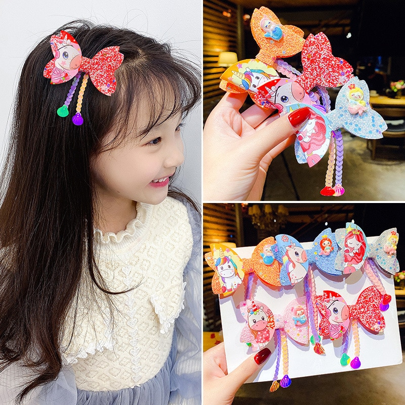 Children's cute and versatile multi-color mermaid unicorn sequins tassel bow headband with hairpin to make your baby more beauti