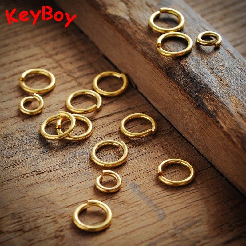 Abierto de latón conexión llavero con anilla de cobre puro llaveros accesorios hecho a mano colgantes para manualidades enlace anillos Metal llaveros colgante