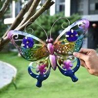 3d wrought iron butterfly wall decoration garden outdoor yard sculpture home wall hanging hollow pendant simulation ornaments
