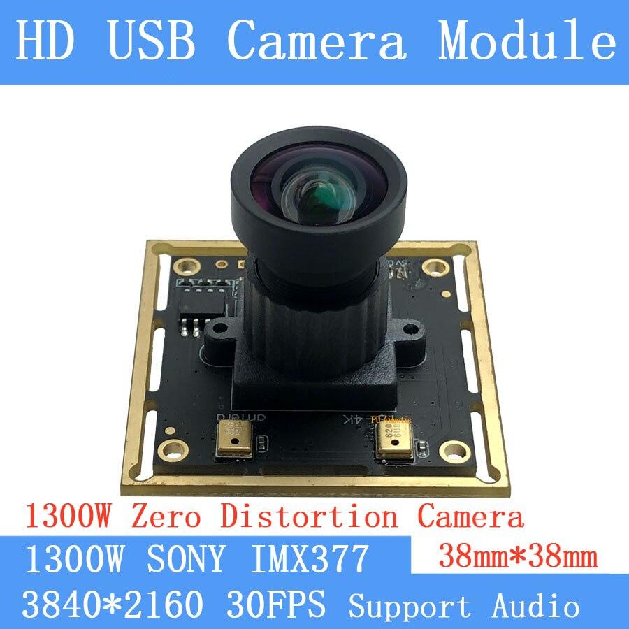 Distorsión cero CCTV de alta resolución 4K 3840x2880 Sony IMX377 UVC conductor Mini USB CÁMARA DE Mjpeg 30fps Webcam soporte de audio