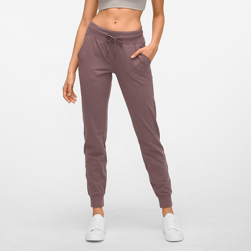 Pantalones de Yoga de sensación desnuda, pantalones deportivos de entrenamiento para correr, Pantalones de mujer de cordón de cintura, pantalones de chándal para correr con dos bolsillos laterales