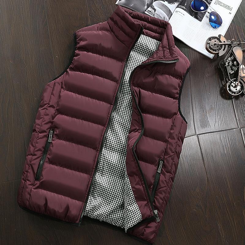 Brand Clothing Autumn Winter Sleeveless Vest Male Fashion Casual Slim Coat  Vest Waistcoat Men's Waterproof Jacket Plus Size 5XL