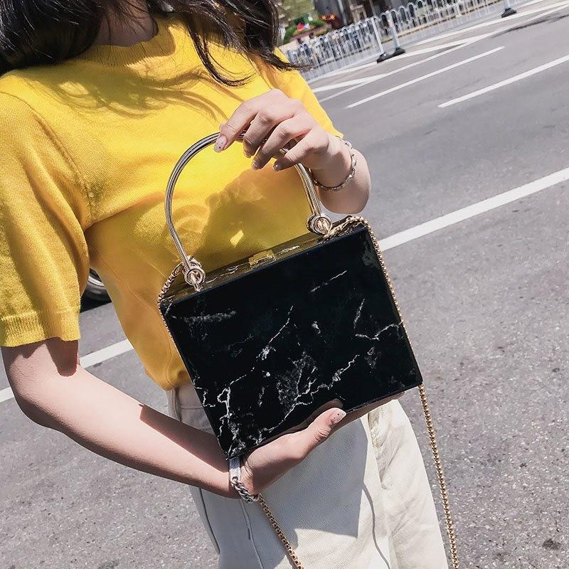 Tamara Fashion Marble Box Women Handbags Designer Chains Shoulder Crossbody Bags Luxury Pu Leather Lady Evening Clutch Bag