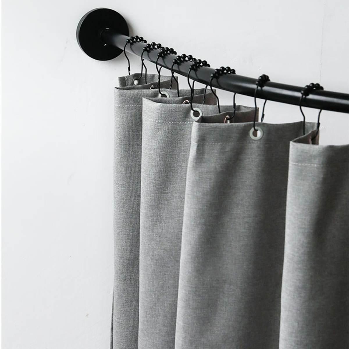 Extendable Corner Shower Curtain Rod Pole Black Stainless Steel Rail Rod Bar Bath Door Hardware Heavy Loaded With 12 Metal Hooks enlarge