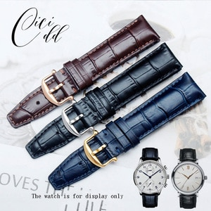 Slub Pattern Genuine Leather Strap 20mm 22mm Black Blue Bracelet With  Pin Buckle Suitable For IWC Watch Accessories
