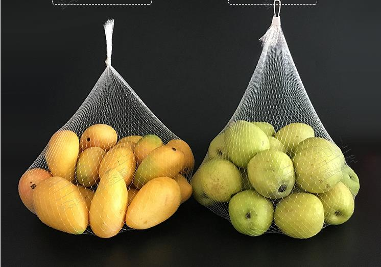 Bolsa de malla blanca de 30cm de longitud, bolsa de almacenamiento doméstica, bolsa de red para frutas, bolsa de red de plástico para conservación, puede personalizar su tamaño