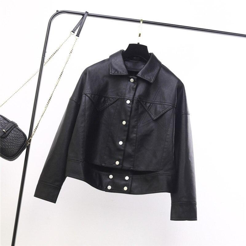 2019New Leather Women fashion loose BF Harajuku style Women Motorcycle Jacket small lapel personality Jacket Black Leather Coat enlarge