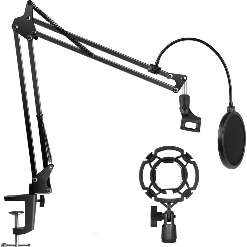 Heavy Duty Microphone Stand Extendable Suspension Boom Scissor Arm Stand with Shock Mount Dual Layered Mic Pop Filter