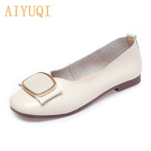 AIYUQI Women Shoes Genuine Leather 2021 New Spring Square Toe Commuter Shallow Mouth Ladies Shoes Lo