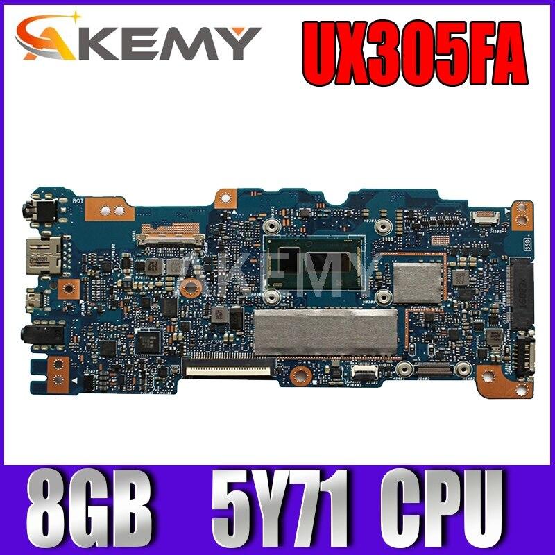 الأصلي UX305FA اللوحة الأم لأجهزة الكمبيوتر المحمول Asus UX305FA UX305F UX305 اللوحة مع معالج BDWY 5Y71 اختبارها 8GB في المخزون