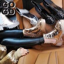 [GOGD] printemps femmes fermeture éclair Rivet bottines avec décoration en métal bout rond femme Punk chaussures