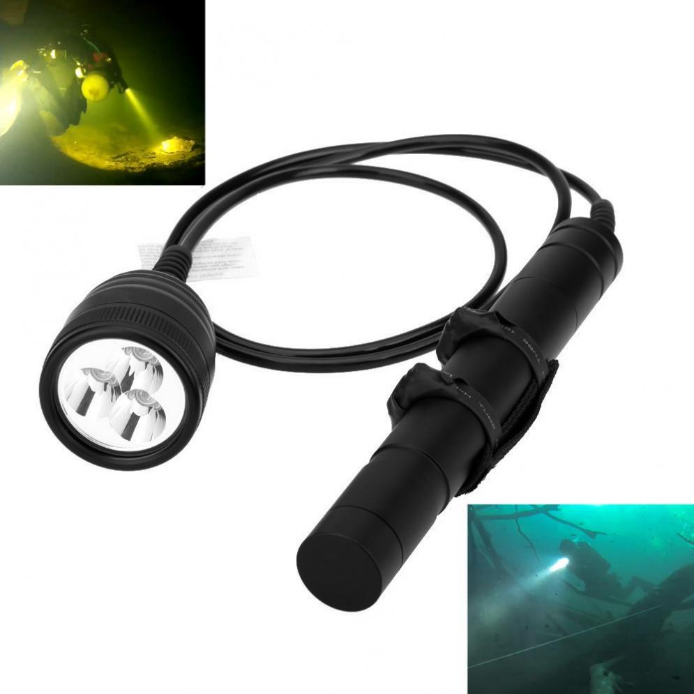 Alta Potencia bajo el agua 150m 3000LM interruptor magnético 3x XM-L2 linterna de buceo LED linterna lámpara con 1,2 M de longitud de línea