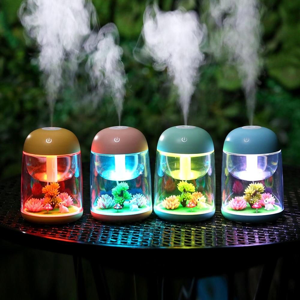 Nemlendirici 180ml Yaratıcı Mikro Peyzaj Kadın Nemlendirici Mini Ev Yatak Odası Zamanlama Hava Temizleyici Usb Şarj Aroma Nemlendirici