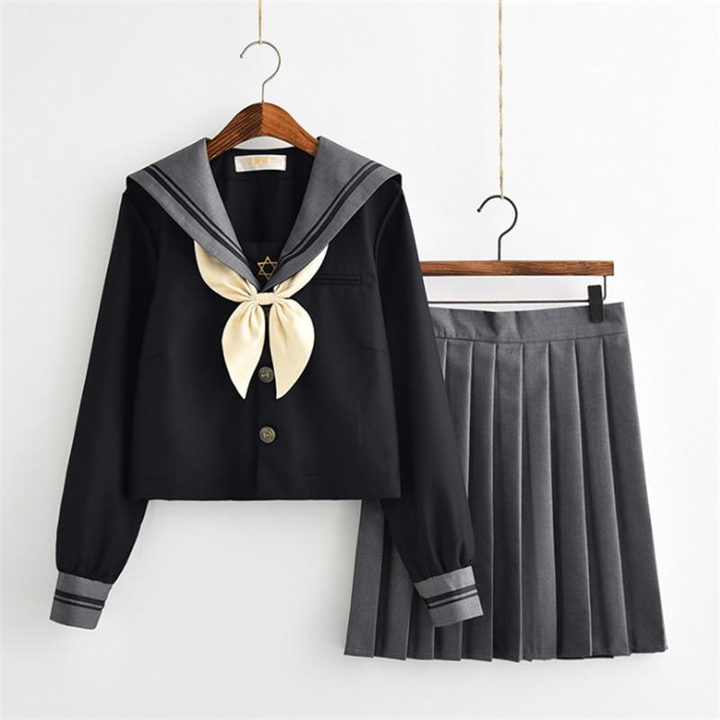 Uniforme escolar marinero japonés con bordado de estrella Hexagonal gris negro S-XXXL uniforme JK traje de marinero japonés de Corea