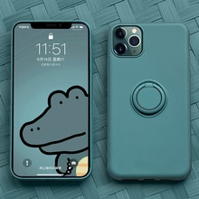 Yumuşak silikon, kapak, kılıfı iPhone 7 8 6 6S artı X XS S 11 Pro Max XR telefon standı halka tutucu darbeye dayanıklı zırh kapak iPhone7 üzerinde
