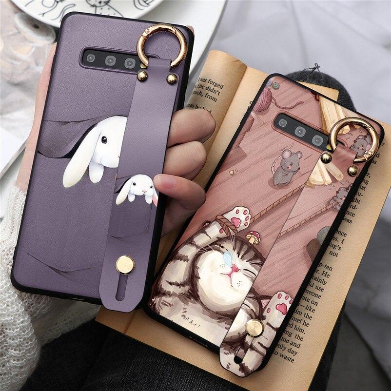 La correa de muñeca de caso de teléfono para Samsung Galaxy A40 A50 A70 Nota 8 9 10 J3 J5 J7 A5 A7 2017 J4 J6 A6 A8 2018 S8 S9 S10 Plus TPU Fundas