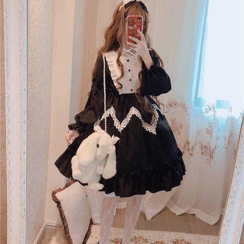 فستان لوليتا على الطراز القوطي للنساء ، نمط كاواي ، قصر الأميرة ، مع فيونكة من الدانتيل ، فستان حفلات عتيق من عصر النهضة الخيالي ، تأثيري