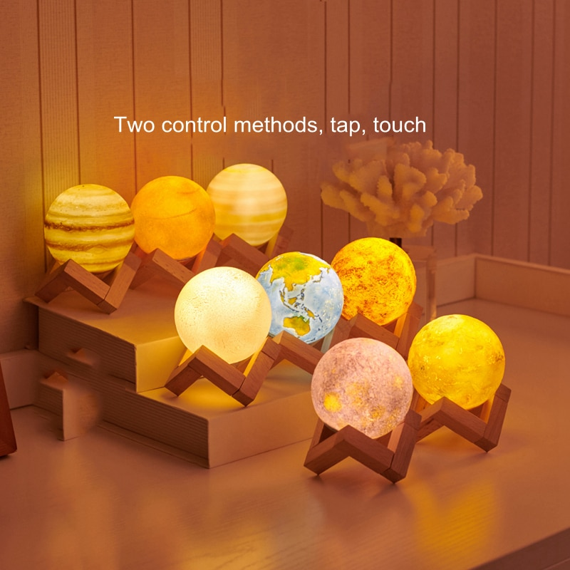 8pcs Creative Rechargeable 3D Print Eight Planets Lamp Night Light Touch Pat Moon Light With 3Colors Home Decor Romantic Gift enlarge