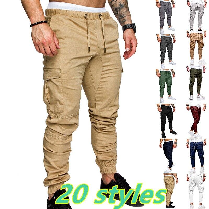 Mens Cargo Pants Joggers Sweatpants Casual Male Sportswear Solid Multi-pocket Trousers Pants pantalo