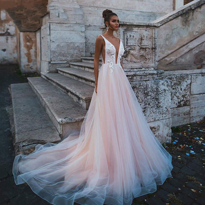 Rose Pink Princess Wedding Dress Sleeveless Appliqued Lace Bride A-Line Tulle Backless Boho Gown