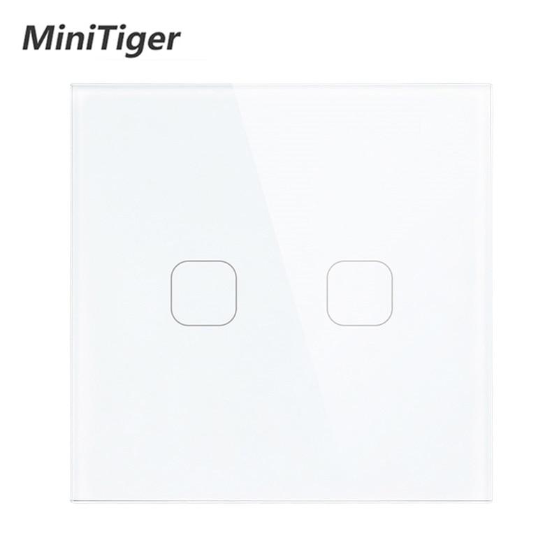 Interrupteur tactile standard ue/UK   Commutateur tactile de panneau en verre de cristal blanc, AC 220V,1 Gang 1 Way, interrupteur pour écran mural de lumière européenne