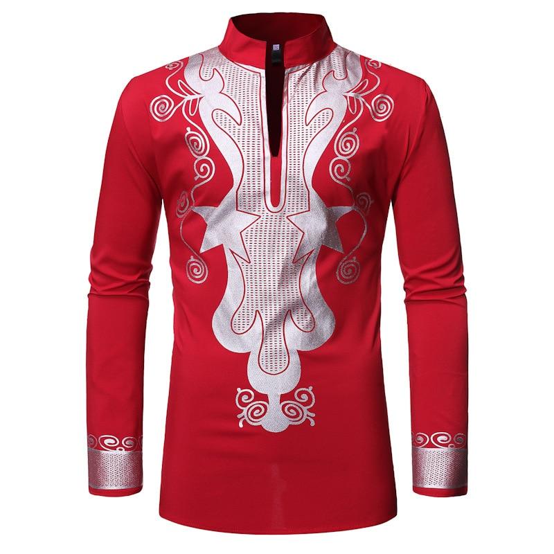 Camiseta africana para hombre, Tops de cuello simulado, manga larga, estampado en caliente, Riche Bazin Dashiki, Tops de otoño, África, ropa de jefe para hombres