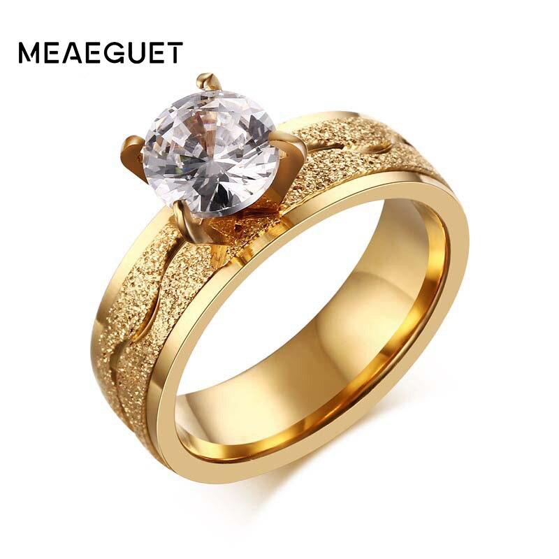Anéis de noivado para mulheres anel de casamento cor de ouro femme namorada presente grande aaa cz pedra