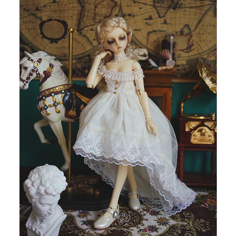 BJD vestido sin mangas vestido de hadas + decoración para el cuello para 1/6 1/4 1/3 accesorios de muñeca BJD un traje vestido blanco