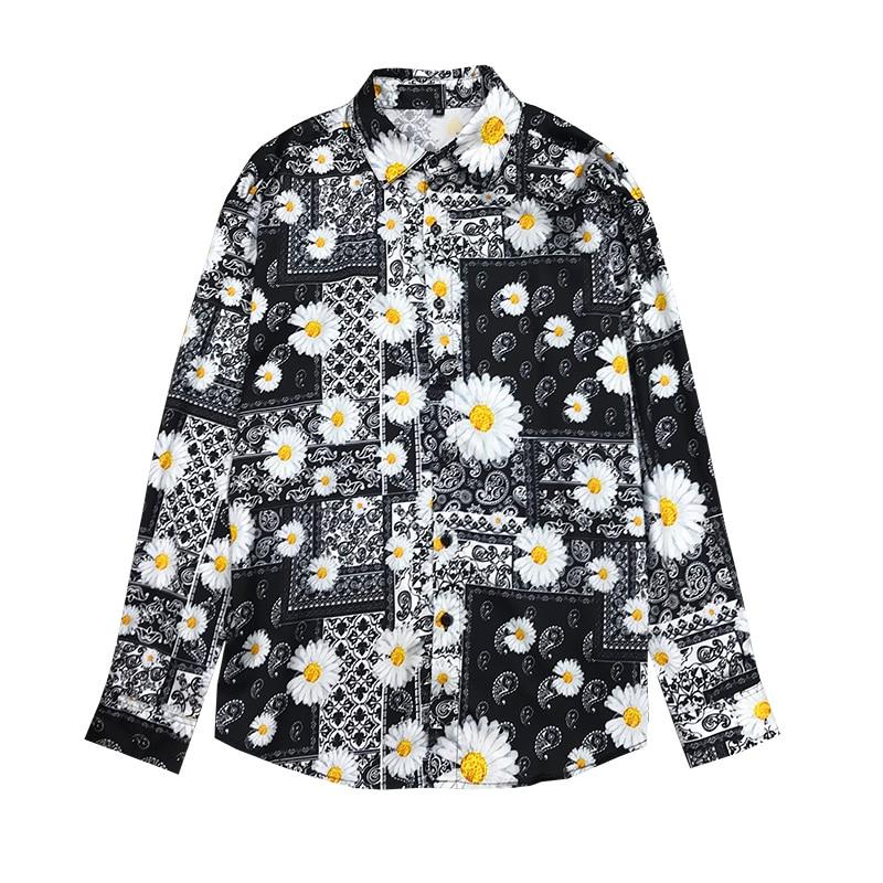 Silk Sommer Mens Fashion 2020 Cashew Blumen Shirts Herren Lose Seidige Langarm Shirts Daisy Neue Blusen Barock Club Outfits