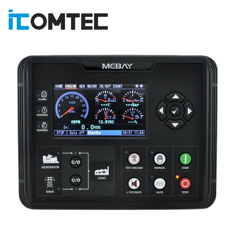 DC72D DC72DR Generator Set Controller for Diesel Gasoline Gas Genset Parameters Monitoring With 4.3