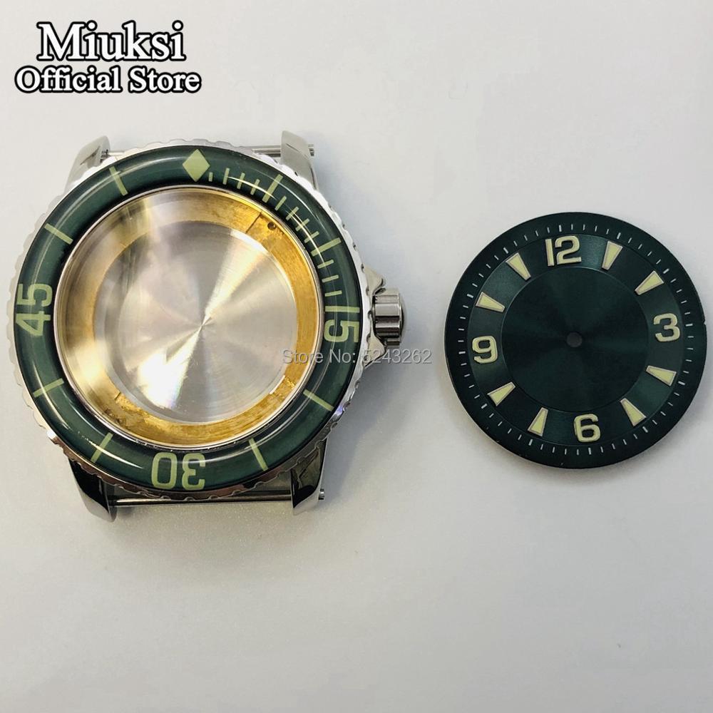 Miuksi 45mm silver watch case  luminous ceramic bezel  +  dial fit ETA 2836 Miyota 8205 8215 821A Mingzhu DG2813 3804 movement