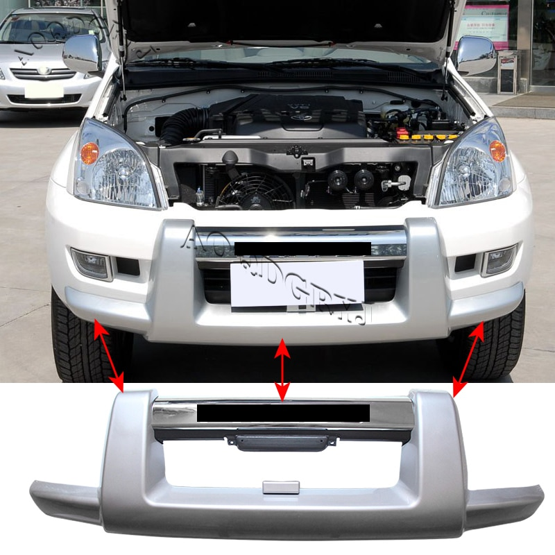 Fit For Toyota Prado FJ120 LC120 2003-2009 Protection On Front Bumper W/ Chrome