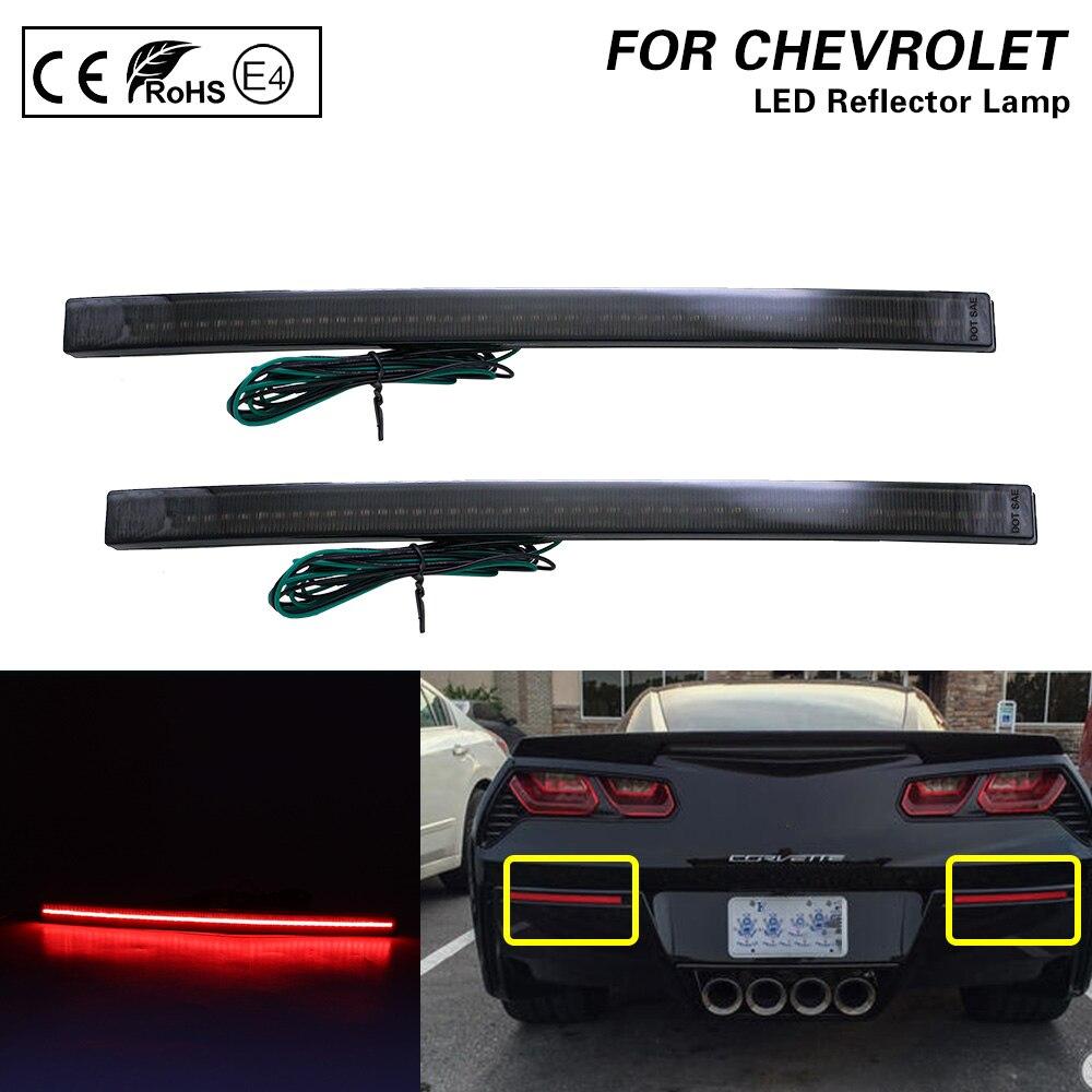 1 Pair Smoked LED Rear Bumper Reflector Lamp Brake Tail Light For 2014 2015 2016 2017 2018 2019 Chevy Chevrolet Corvette C7