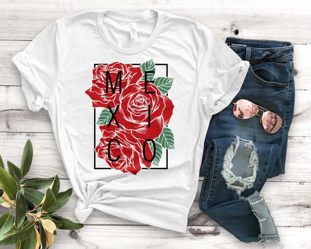 Mexico con rosas latinas imprimir mujeres camiseta algodón Casual divertida camiseta regalo para Lady Yong Girl camiseta superior PM-106