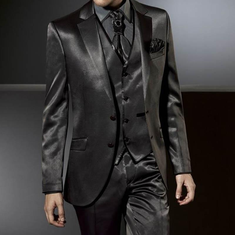 Anniebreney-بدلة رسمية من الساتان من 3 قطع للرجال ، بدلة ضيقة ، بدلة زفاف مخصصة ، سهرة ساتان أسود ، حفلة موسيقية ، زفاف ، راقي
