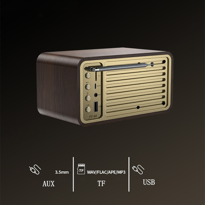 Wooden Bluetooth Speakers Retro Classic Soundbox HIFI Subwoofer for Computer with FM Radio Music System Center caixa de som Box enlarge