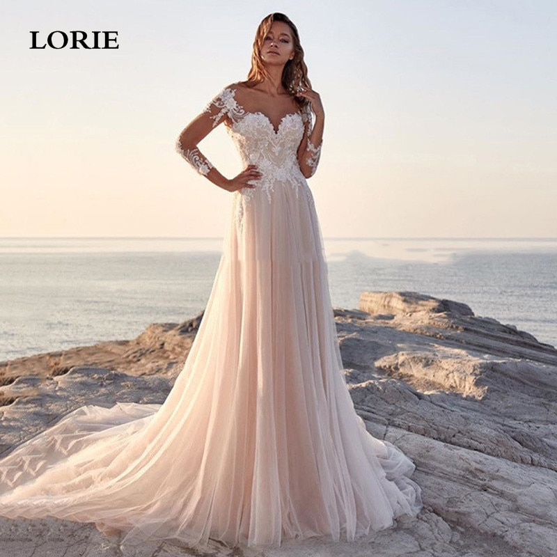 LORIE Beach Bride Dress Long Sleeve A Line Lace Country Wedding dresses Sexy Backless Boho Wedding Gown Свадебные платья 2021