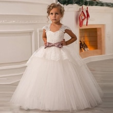 2020 yaz beyaz uzun nedime elbise kız çocuk giyim kız giyim Pageant parti düğün elbisesi zarif prenses elbise