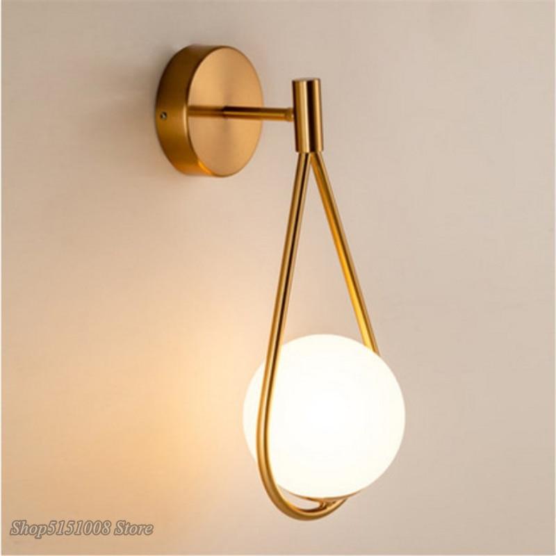Lámpara de pared de bola de cristal creativa nórdica, lámpara de pared de metal para sala de estar, moderna lámpara de noche minimalista, lámpara de decoración, luminaria