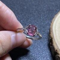 1pc natural red tourmaline ring quartz crystal adjustable ring 925 silver girl gift jewel ring crystal healing stone