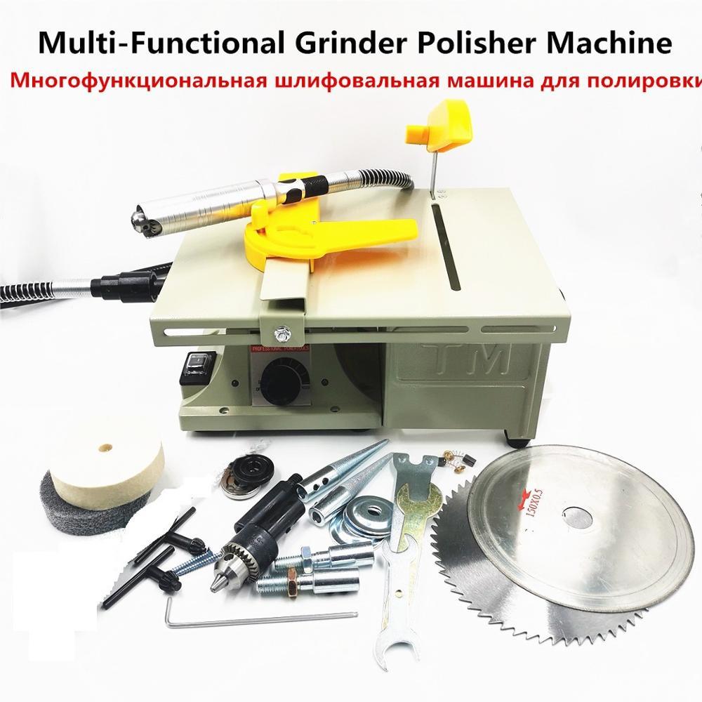 متعددة الوظائف طاولة صغيرة منشار حجر الملمع اليشم آلة الحفر ماكينة الفرم والصقل اليشم آلة قطع 220 فولت