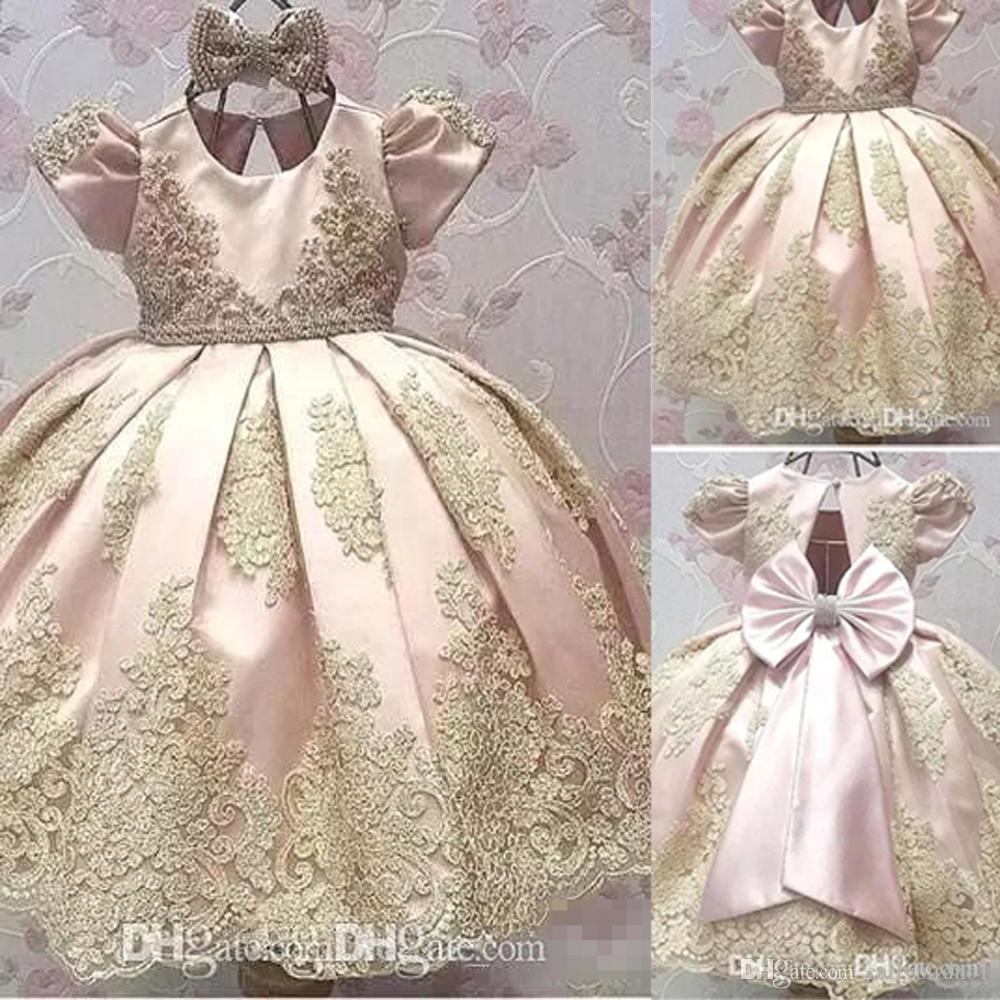 Newest Short Sleeves Flower Girl Dresses Big Bow Toddler Gold Applique Kids Communion Dress Birthday Party Pageant Gown BA9989 gold lace applique first communion dresses short sleeves top lace flower girl dress lace applique skirt girl pageant dresses