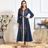 muslim womens long skirt fashion spring and autumn blue ethnic embroidery long sleeved round neck casual belt british long skirt