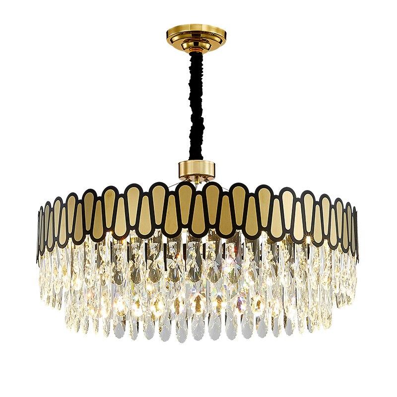 Candelabros de cristal negro y oro moderno FKL para comedor, sala de estar, cocina rectangular, lámpara LED redonda para el hogar