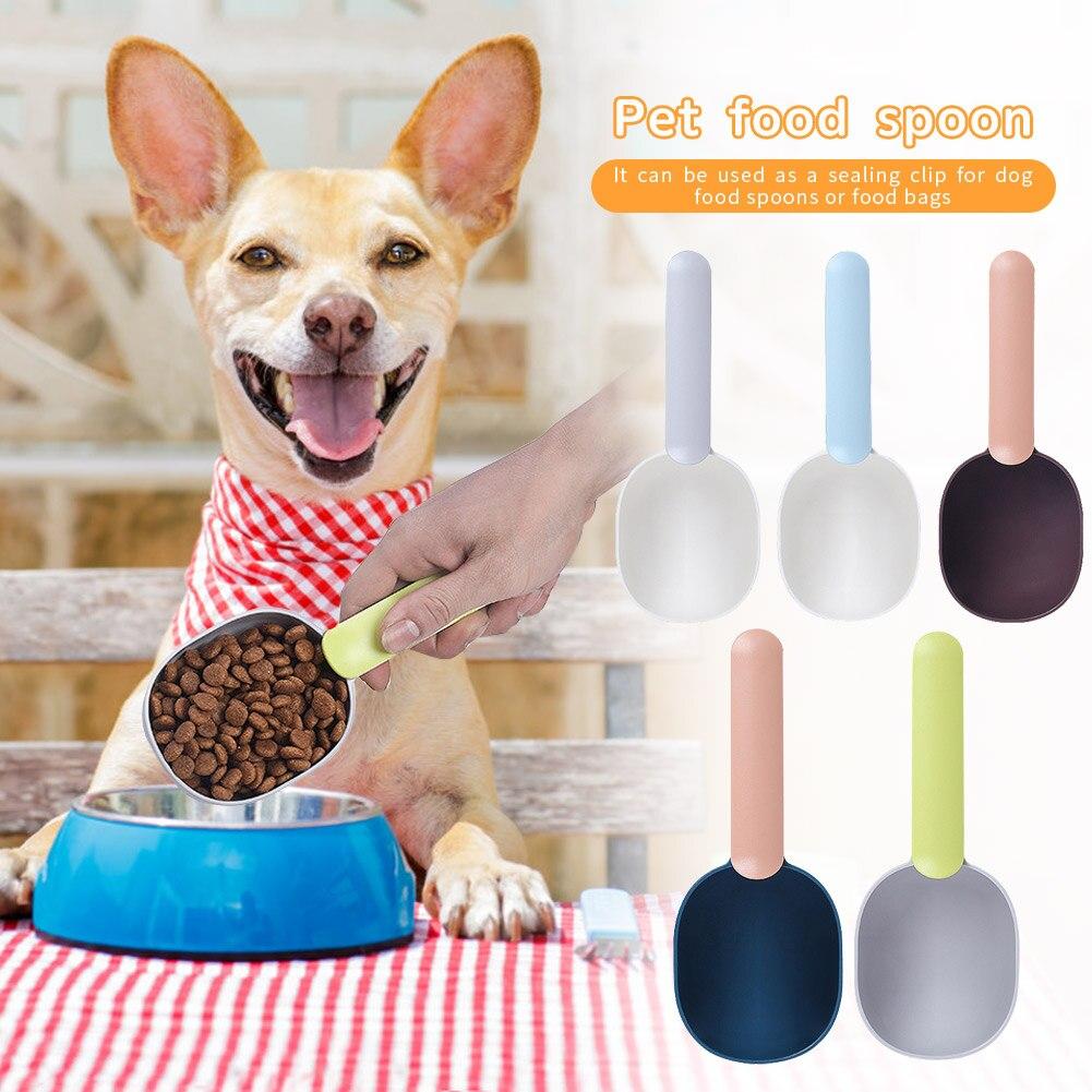 Cuchara alimentadora para mascotas con Clip para bolsa de sellado, cuchara de plástico portátil para perros y gatos, espátula para comida para decoración de perros y animales domésticos