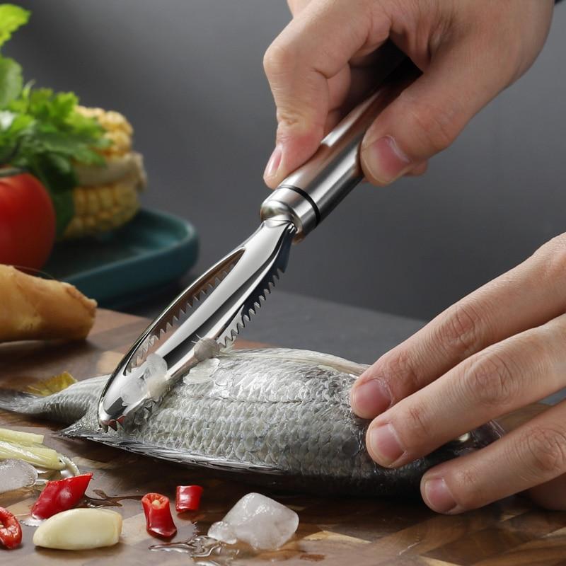 Raspado de escamas de pescado de acero inoxidable, pelador para limpieza rápida...