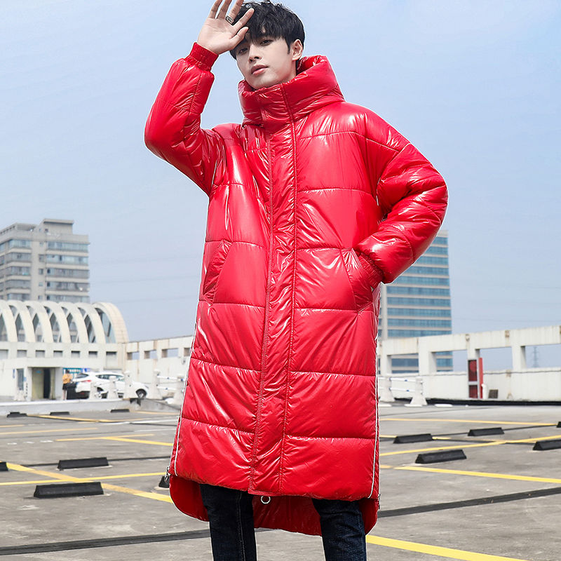 Fashion trendy brand sequined mid-length coat with hood 2020 winter jacket men loose warm and windproof men's parka jackets