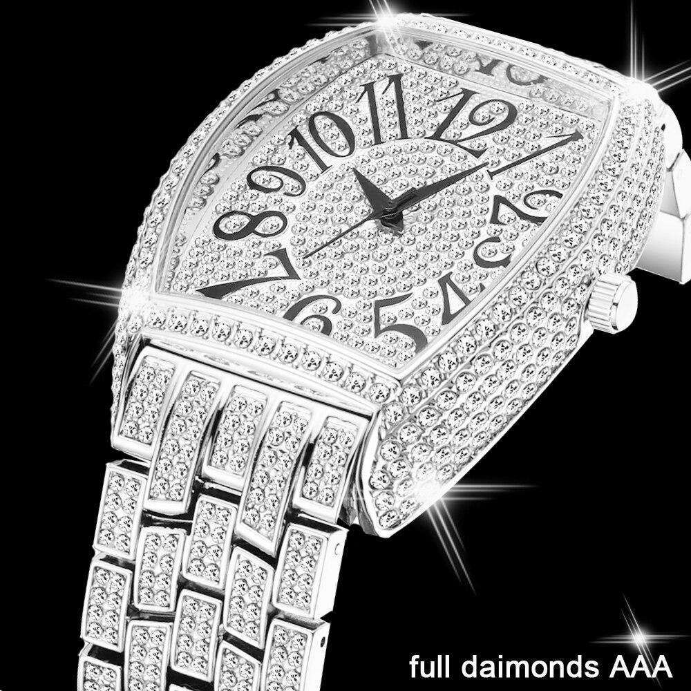 Relojes Iced Out de acero inoxidable y plata para hombre, reloj de pulsera de cuarzo de Hip Hop, relojes clásicos de diamantes Tonneau para hombre